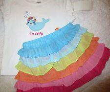 3PC NWT Gymboree Rainbow Cabana Little Sealy Shirt & Ruffle Skirt Girl 18-24 mos