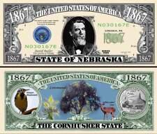 classic State of Nebraska Dollar Bill Fake Funny Money Novelty Note +FREE SLEEVE