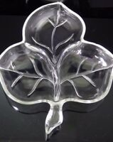 Vintage Clear Glass Maple Leaf Divided Serving Dish Tray Candy Nuts Pickles