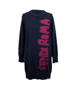 Fendi Mädchen Strickkleid blau Langarm Tunika Winterkleid NP €212