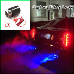 35-61mm Car Exhaust Muffler Stainless steel Tip Pipe W/Blue LED Light Universal