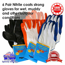 6pair Nitrile Half Coated Gloves Work Working Rubber Outdoor Fishing Safety