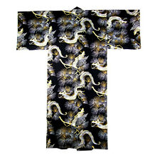 "Japanese 61""L Men's Cotton Kimono Yukata Rich Fortune Lucky Dragon Made in Japan"