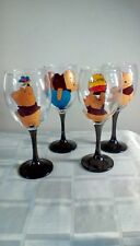 Winnie the Pooh Hand Painted Set Of Four Large Wine Glasses