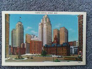 Campus Maritus, Detroit, Michigan, 1940's Linen Postcard.