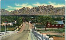 Las Cruces NM Viaduct & Organ Mountains Postcard 1951