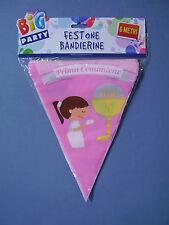 FESTONE BANDIERINE COMUNIONE ROSA METRI 6 STRISCIONE FESTA PARTY