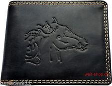 Hochwertige Geldbörse Geldbeutel Portemonnaie Wasserbüffel Leder Pferd Schwarz