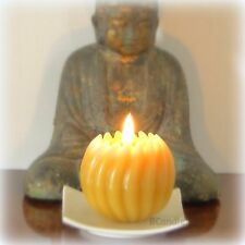 "Spiral Ball Candle - Decorative Beeswax - 3x3"" with Square Porcelain Plate"