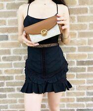NWT Michael Kors FULTON Large Flap PVC Leather Carryall Wallet Clutch MK Vanilla