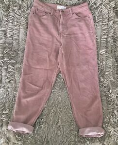 Topshop Corduroy Cord Mom Jeans Pink W28 L30 Size 10 High Waisted RRP £40