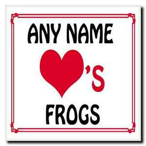 Love Heart Frogs Personalised Coaster