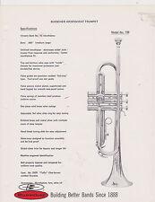 VINTAGE AD SHEET #2518 - 1970s BUESCHER MUSICAL INSTRUMENT - ARISTOCRAT TRUMPET