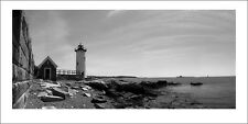 Poster Portsmouth Harbor Lighthouse Black and White Panoramic Fine Art Print