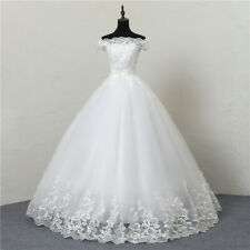 Wedding Dresses Lace Boat Neck Off The Shoulder Ball Gown Princess Plus Size