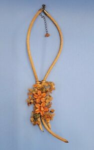 Handcrafted Fall Autumn Leaf Necklace Leather Stone Artisan Designer Boutique