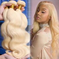 3 Bundle 300g / Virgin Remy Real Human Hair Extensions Weave Weft Blonde #613 HQ