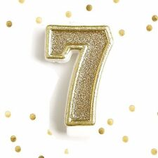 Light Gold Glitter Birthday Candle Number 7 Gold White Cake Topper Seven