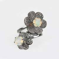 Opal Gemstone 925 Sterling Silver Pave Diamond FLORAL Wrap Ring Fine Jewelry NEW