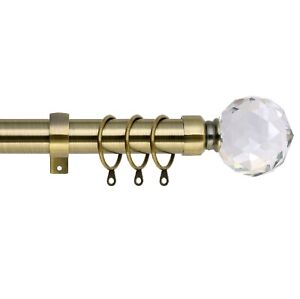 Extendable Metal Curtain Pole Includes Superior 60mm Finials, Rings & Fittings