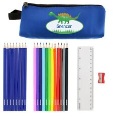 PERSONALISED Dinosaur Pencil Case - School Stationery Kit Set Name Kids Childs
