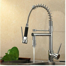 Pull Down Chrome Kitchen Faucet Spring Vessel Sink Mixer Tap Dual Swivel Spout