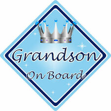 Non Personalised Child/Baby On Board Car Sign ~ Grandson On Board ~ L.Blue