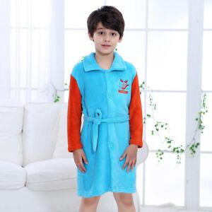 soft comfortable flannel fleece warm bathrobe nightwear for kids boys girls