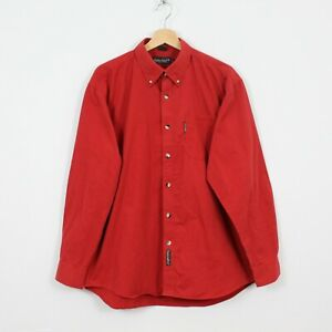 F39 Vtg Timberland Weathergear Men Red Casual Long Sleeve Shirt Lumberjack USA L