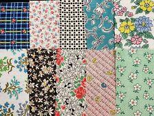 10 BEST 1920s Print Vintage Cotton Quilt Fabric Scraps Sweet Flapper Remnants