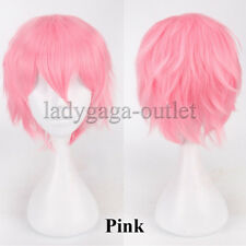US Short Cosplay Anime Wig Male Female Fluffy Straight Costume Halloween Wig &ga