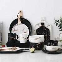 Marble Glazes Ceramic Tableware Set Porcelain Plates Dishes Bowl Coffee Mug Cup