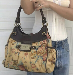 Chaps Women's Floral Print Beige Bag Handbag Purse Shoulder