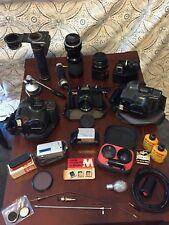Vtg Lot Camera & Accs Olympus Minolta Kodak Yashica Tripod Om System Right Angle
