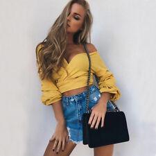 Summer Women Casual Off Shoulder Tank Top Vest Blouse Long Sleeve Crop Top Shirt