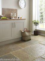 Sample of Tumbled Umbrian (Jaipur) Limestone Floor Tiles Slabs Aged Flagstones