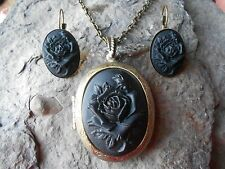 BLACK ROSE CAMEO LOCKET AND EARRINGS - ANTIQUE BRONZE, UNIQUE, GOTH