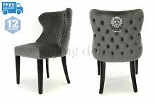 Oxford Dining Chair Deep Grey Plush Velvet Buttoned Back Lion Knocker Black Legs
