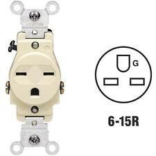 100 Pk Leviton 15A Ivory Heavy-Duty 6-15R Grounding Single Electric Outlet 5029I