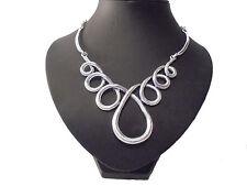 Impresionante Grueso inusual declaración de plata del remolino grande Collar de diseñador estilo