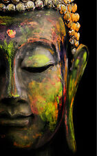 STUNNING ABSTRACT BUDDHA STATUE CANVAS #319 SPIRITUAL ASIAN PICTURE A1 WALL ART