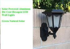 4-Pack Solar Black Aluminum Die-Cast Hexagon Led Wall Mount Lights-New Arrival!