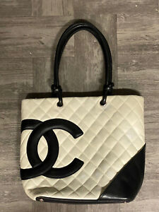 Authentic Chanel Black Quilted Ligne Cambon White Black Bucket Tote Bag