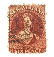 .NEW ZEALAND 1863 QV 6d W/MARKED USED HINGED STAMP.