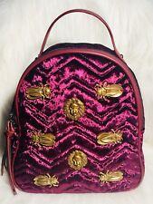 Ladies Fashion Maroon Velvet Backpack Gold Lion Head Egyptian Scarab Beetle