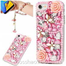 Bling Soft TPU Back phone Cover Case & wrist Crystals flowers strap For Huawei C