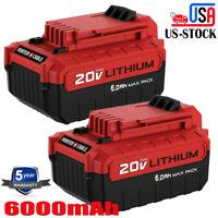 2x PCC680L 6.0Ah Battery For Porter Cable 20 Volt MAX PCC682L PCC685L Lithium US