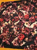 """NWT  Echo silk scarf large Square 34"""" Black back red  flowers K503"""