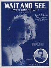 Wait and See (You'll Want Me Back), Constance Talmadge, 1919 vintage sheet music