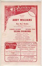 "Andy Williams & Selma Diamond  ""Bye Bye Birdie""  Playbill  1962  Kenley  Players"